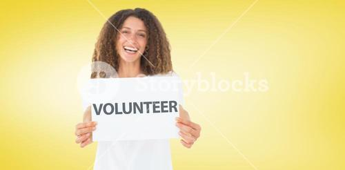 Composite image of smiling volunteer showing a poster