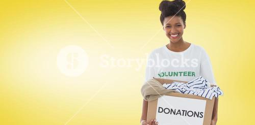 Composite image of smiling young woman with clothes donation