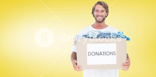 Composite image of happy man carrying donation box