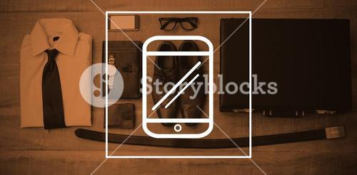 Composite image of digital image of mobile phone screen