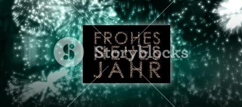 Composite image of glittering frohes neues jahr