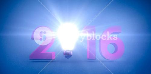 Composite image of 2016 with light bulb