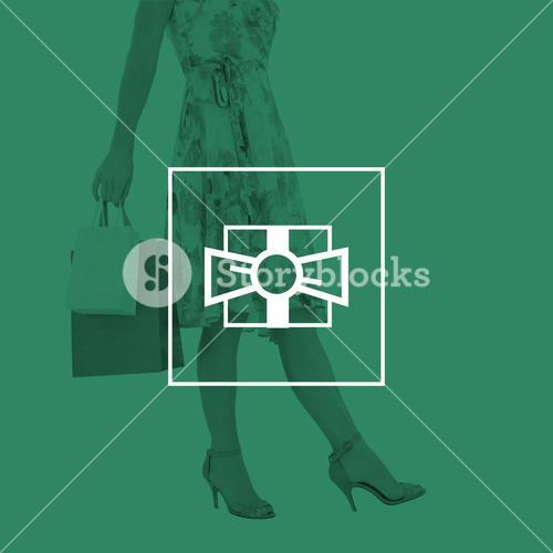 Composite image of elegant woman with shopping bags