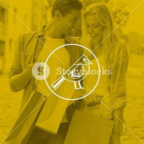 Composite image of hip young couple looking at their shopping bags
