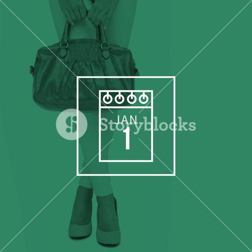 Composite image of woman in high heels holding yellow bag