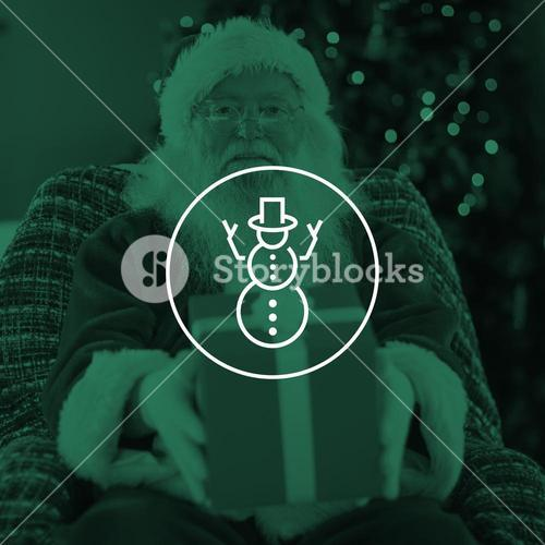 Composite image of santa claus offering a red gift