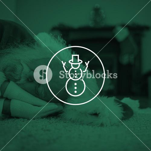 Composite image of santa claus resting on the rug