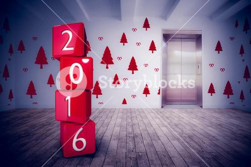 Composite image of 2016 in red blocks