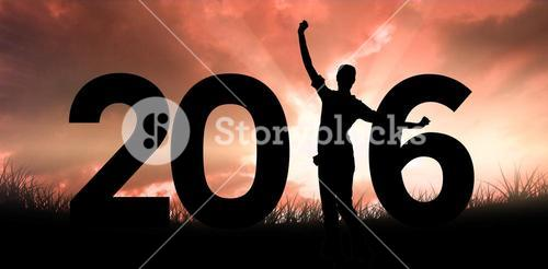 Composite image of successful businesswoman cheering over white background