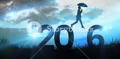 Composite image of businessman stepping with umbrella
