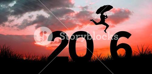 Composite image of woman jumping with umbrella
