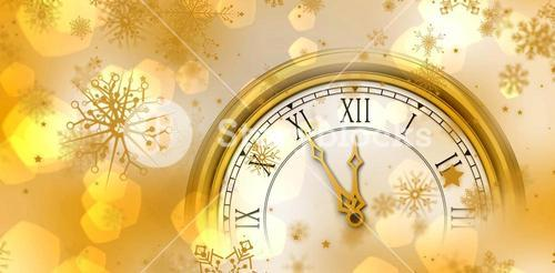 Composite image of gold clock