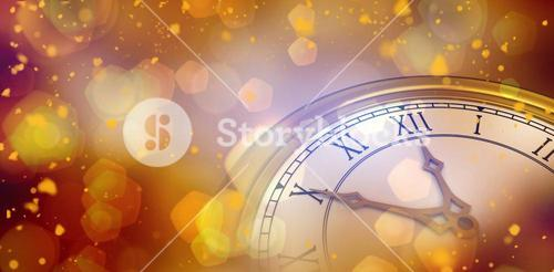 Composite image of digitally generated image of a clock