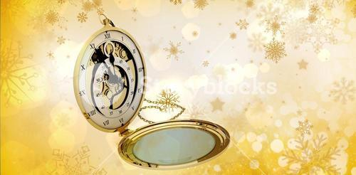 Composite image of old fashioned pocket clock with chain