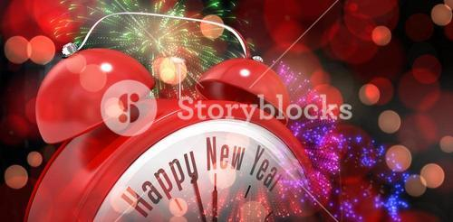 Composite image of happy new year in red alarm clock