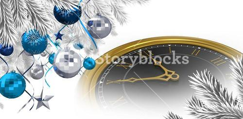 Composite image of christmas tree decorated with golden ornaments