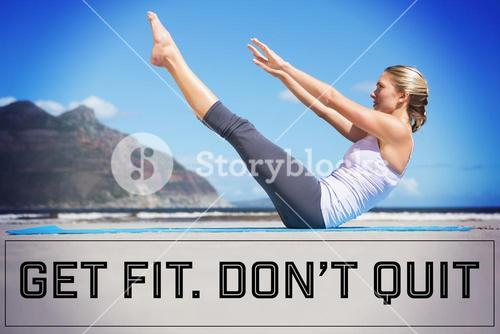Composite image of focused fit blonde doing yoga on the beach