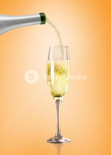 Composite image of champagne pouring