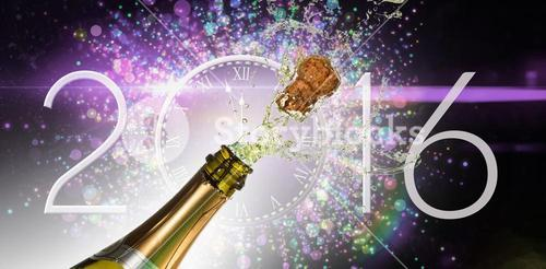 Composite image of champagne popping