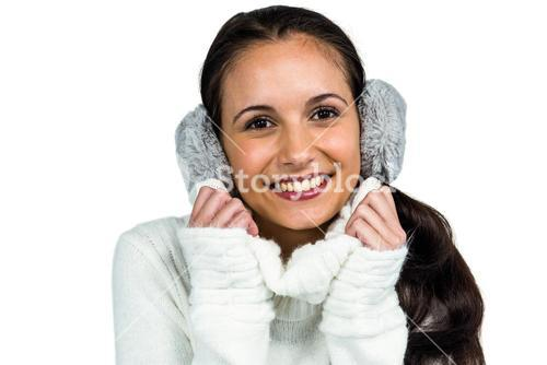 Attractive woman with earmuffs