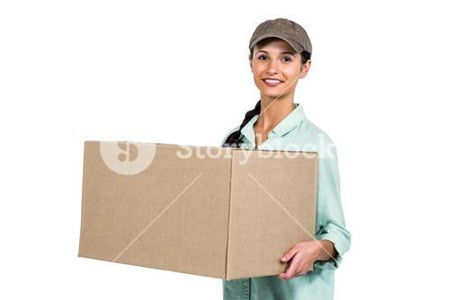 Happy delivery woman holding pack
