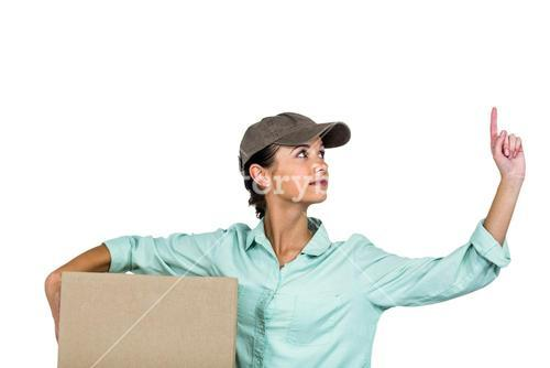 Smart delivery woman holding pack pointing up