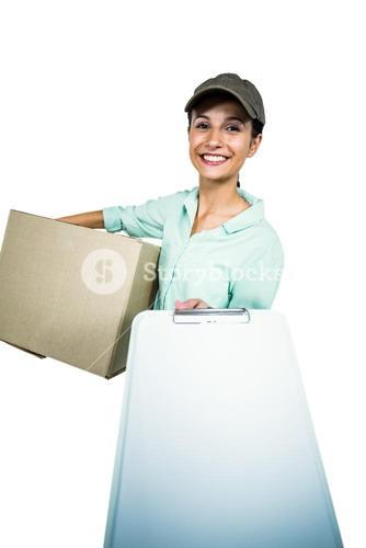 Smart delivery woman holding pack showing clipboard