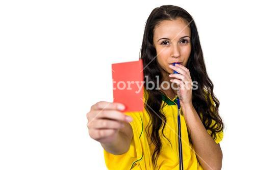 Woman showing red card