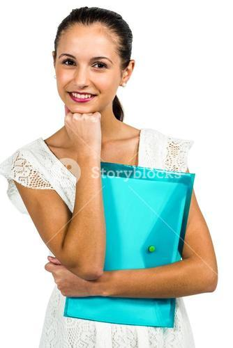 Smiling woman holding plastic holder with fist on chin