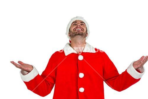 Happy man in santa costume