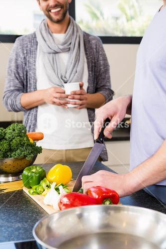 Mid section of gay couple preparing food