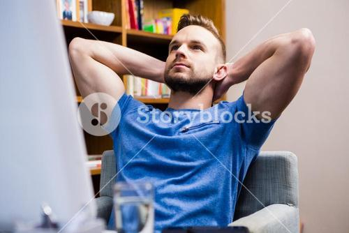 Thoughtful man at desk