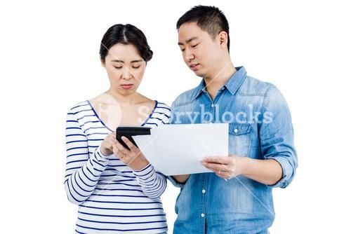 Concentrated couple discussing
