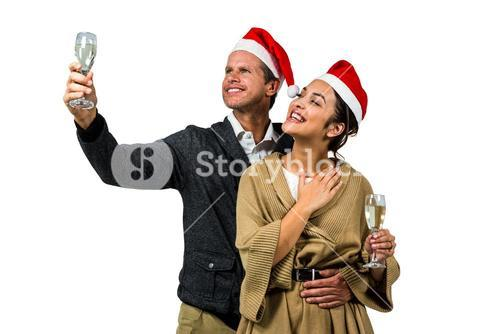 Elegant couple celebrating christmas together