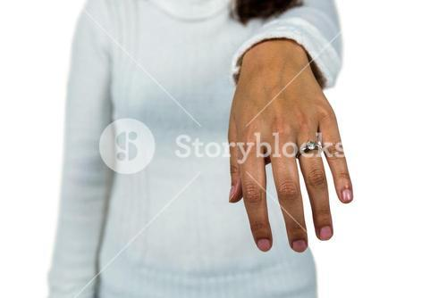 Mid section of woman wearing ring