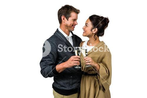 Happy romantic couple with champagne flute