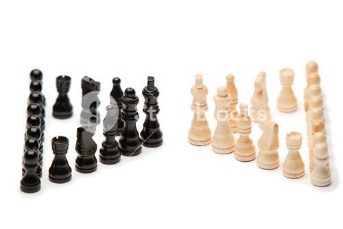 Blank and white pieces of chess