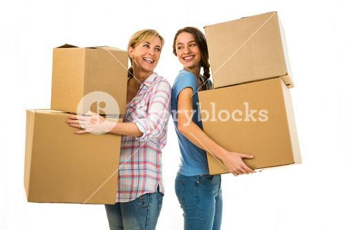 Mother and daughter holding boxes