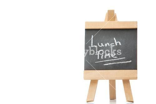 Chalkboard with the words lunch time written on it