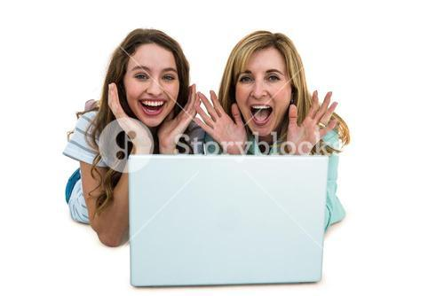 Mother and daughter watch computer