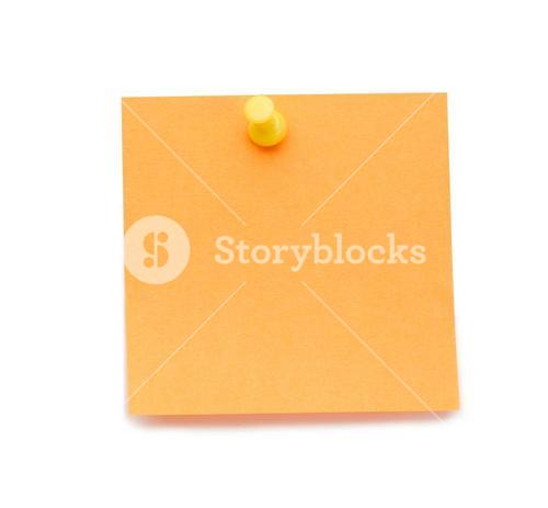 Orange postit with drawing pin