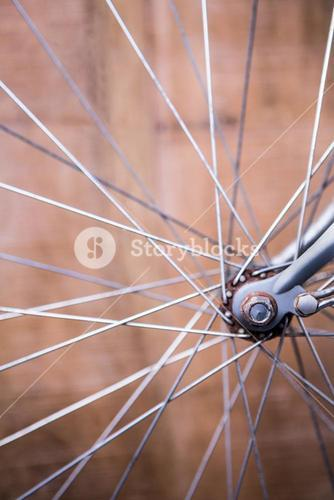 Close up view of spokes of wheel of a bike