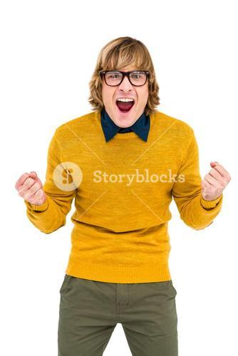 Portrait of hipster shouting