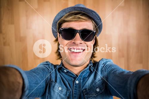 Crazy hipster wearing sunglasses
