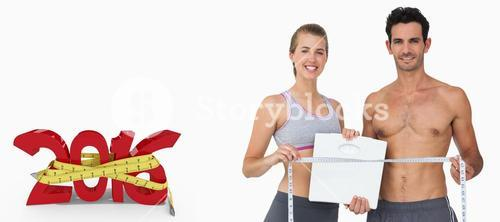 Composite image of sporty couple holding scales and measuring tape