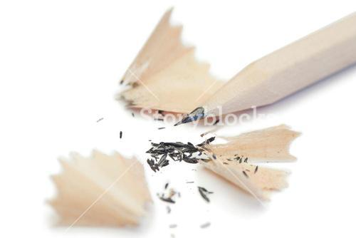 White pencil and its peelings