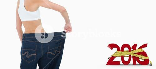 Composite image of rear view of a happy woman who lost a lot of weight