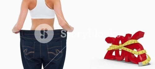 Composite image of rear view of a woman who lost a lot of weight