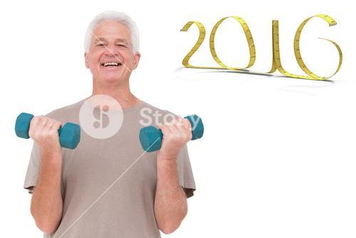 Composite image of senior man lifting hand weights