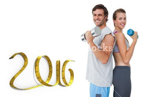 Composite image of portrait of a fit couple exercising with dumbbell